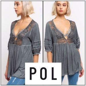 🎉HP 3/21🎉Gray Embroidered Empire Waist Top! NEW!